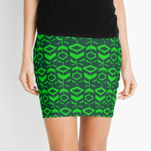 Green flower pattern with green background Mini Skirt