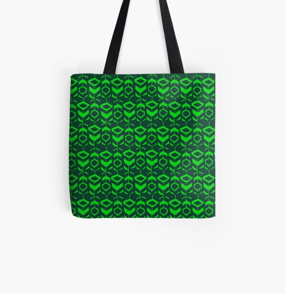 Green flower pattern with green background All Over Print Tote Bag