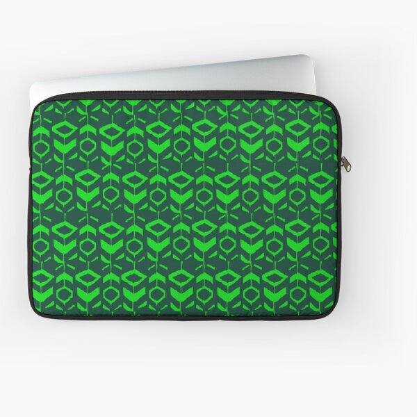 Green flower pattern with green background Laptop Sleeve