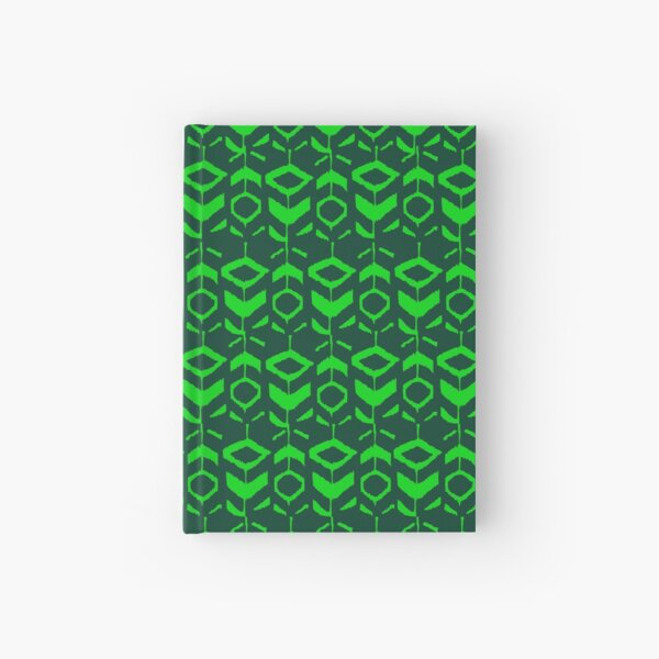 Green flower pattern with green background Hardcover Journal