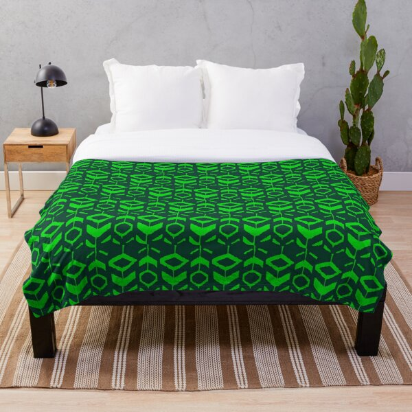 Green flower pattern with green background Throw Blanket