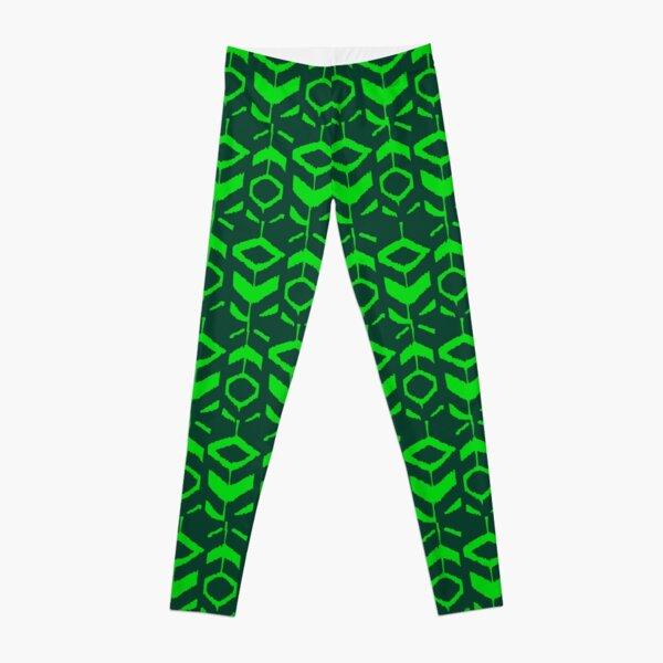 Green flower pattern with green background Leggings