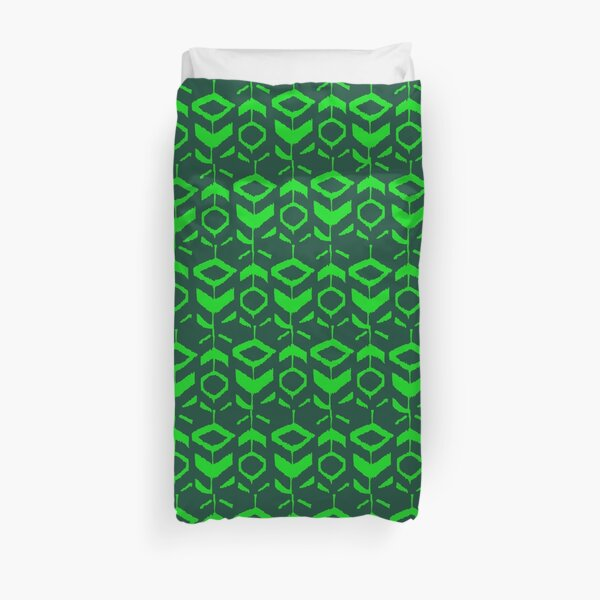 Green flower pattern with green background Duvet Cover