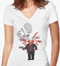 AMERICAN DAD - ROGER SLAM Women's Fitted V-Neck T-Shirt