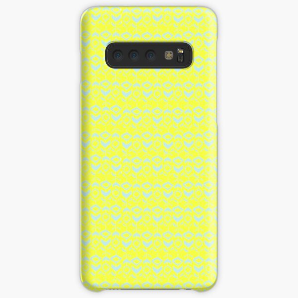 Light blue flower pattern on a yellow background Samsung Galaxy Snap Case
