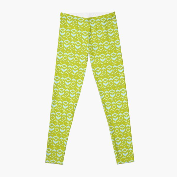 Light blue flower pattern on a yellow background Leggings