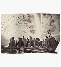 From the Heart of the Brooklyn Bridge - The New York City Skyline Poster