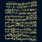 Bright yellow sheet music on deep blue background by cesarpadilla