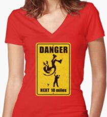 Danger! Complicated Death Ahead! Women's Fitted V-Neck T-Shirt