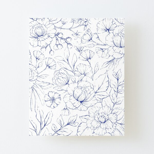 Modern hand drawn navy blue white elegant floral pattern Canvas Mounted Print