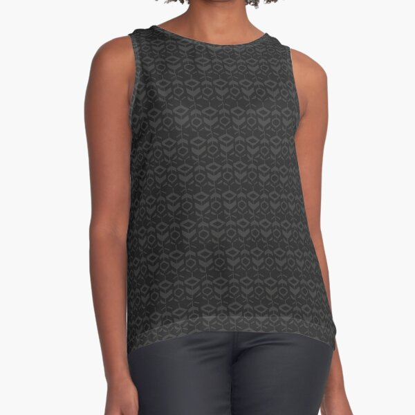 Grey flower pattern with grey background Sleeveless Top