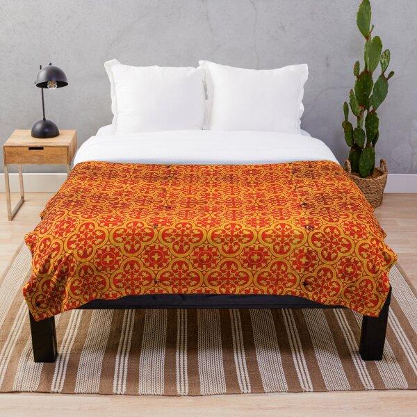 Orange Traditional Oriental Moroccan Style Pattern Throw Blanket