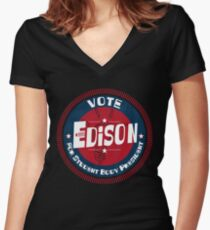 Vote Edison 2012 Women's Fitted V-Neck T-Shirt