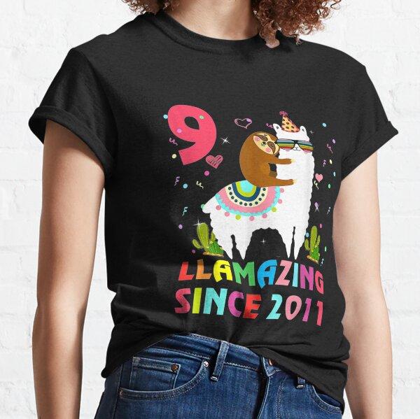 9 Years Old 9th Birthday Sloth Riding Llama Girls Kids Classic T-Shirt