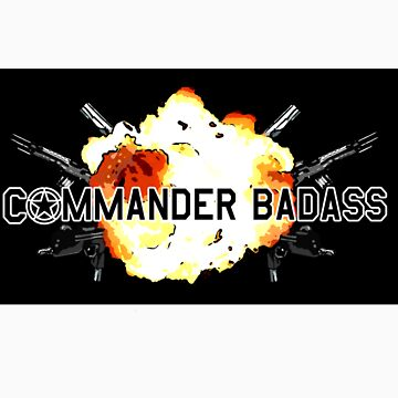 Commander Badass Logo - Black Sticker by boomshadow