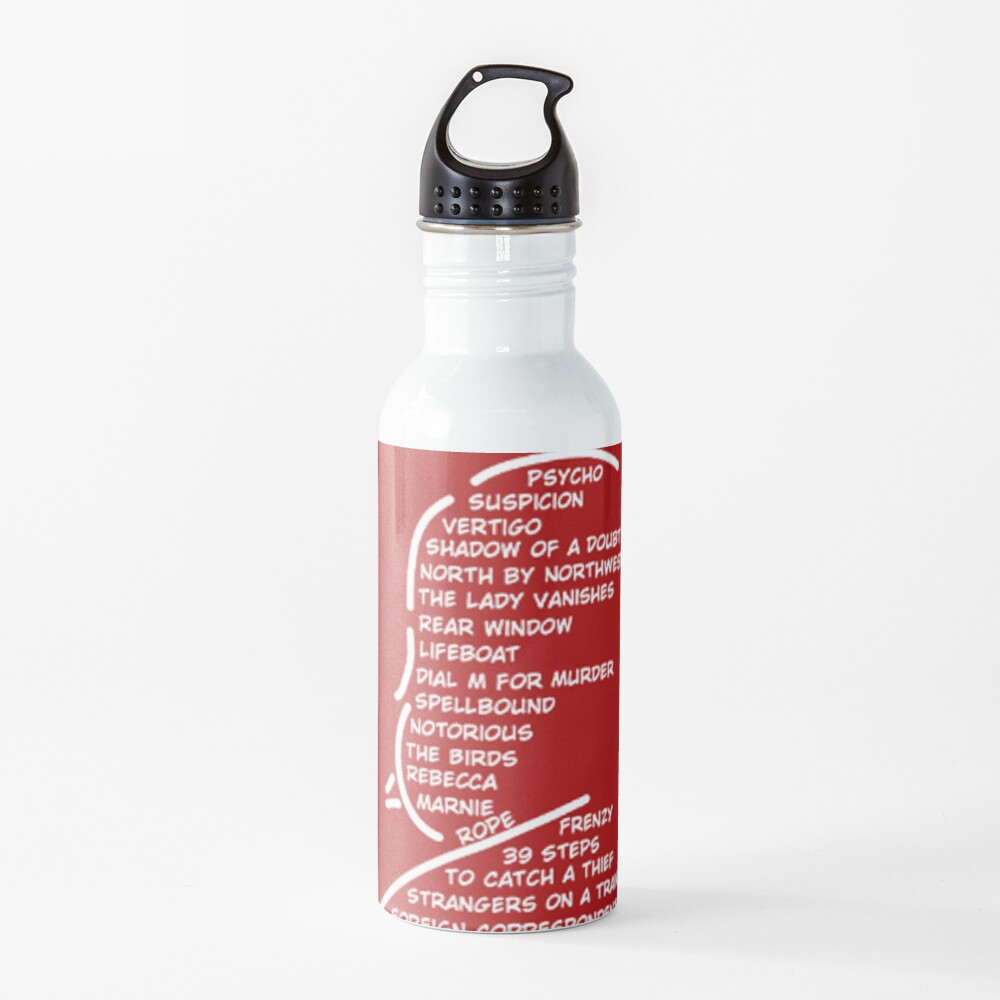 Master of Suspense in Red Water Bottle