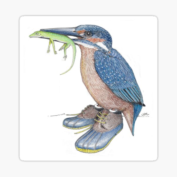 Kingfisher in duck shoes Sticker