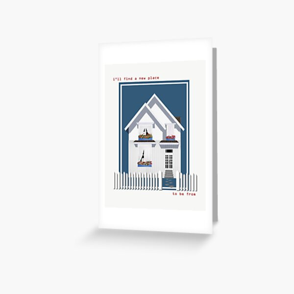 haunted house with a picket fence Greeting Card
