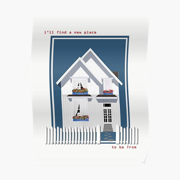 haunted house with a picket fence Poster