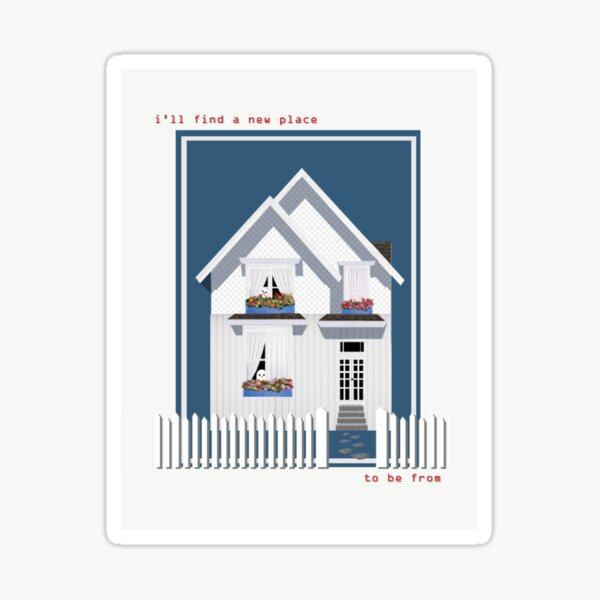 haunted house with a picket fence Sticker