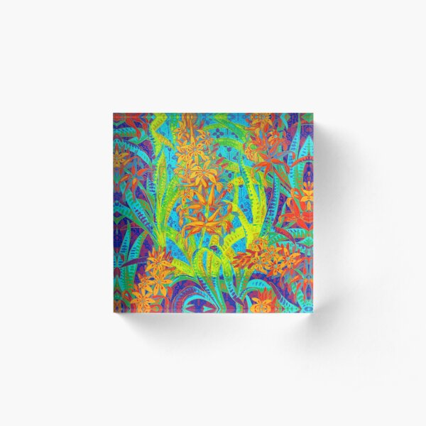 Floral Colorful Pattern Acrylic Block