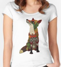 floral fox Women's Fitted Scoop T-Shirt