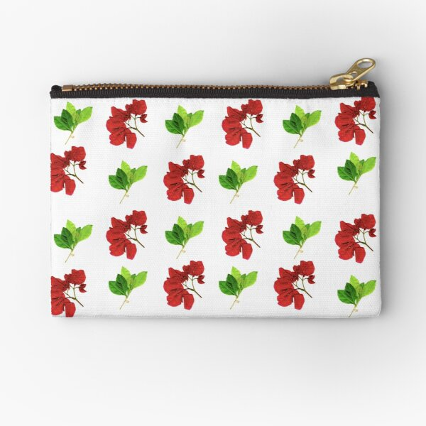Red Flowers, Green Leaves Zipper Pouch