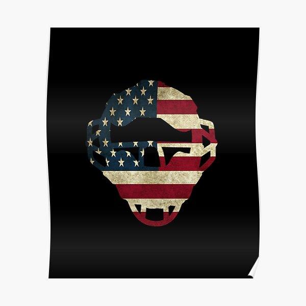 Baseball Catchers Mask Gear design American Flag Baseballin Poster