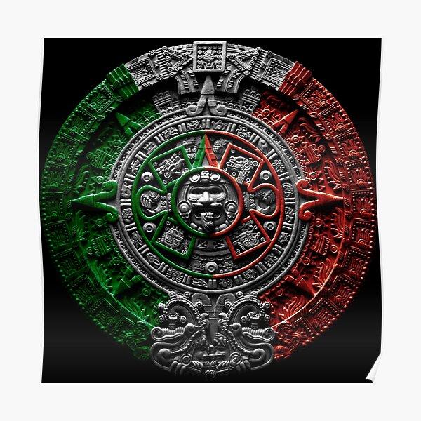aztekischer Kalender Mexiko Chicano Poster