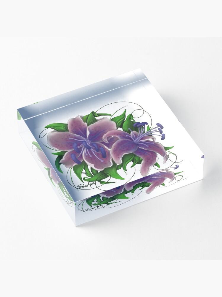 Alternate view of Twisted Purple Lillies Acrylic Block