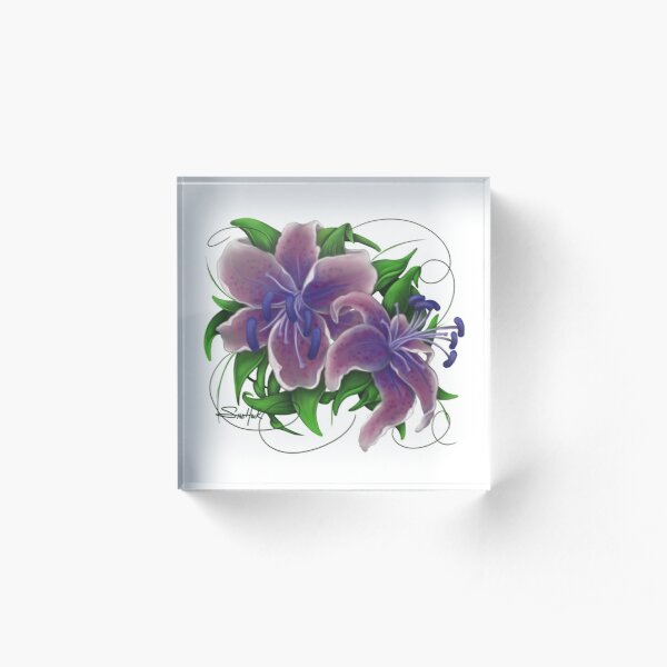 Twisted Purple Lillies Acrylic Block
