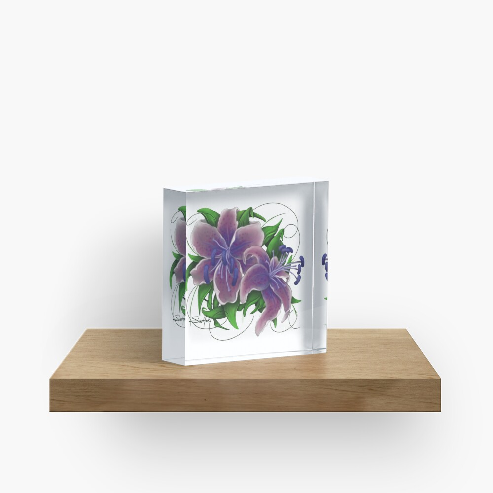 Twisted Purple Lillies Acrylic Block