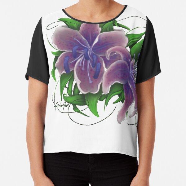 Twisted Purple Lillies Chiffon Top