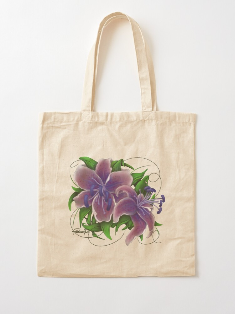 Alternate view of Twisted Purple Lillies Tote Bag