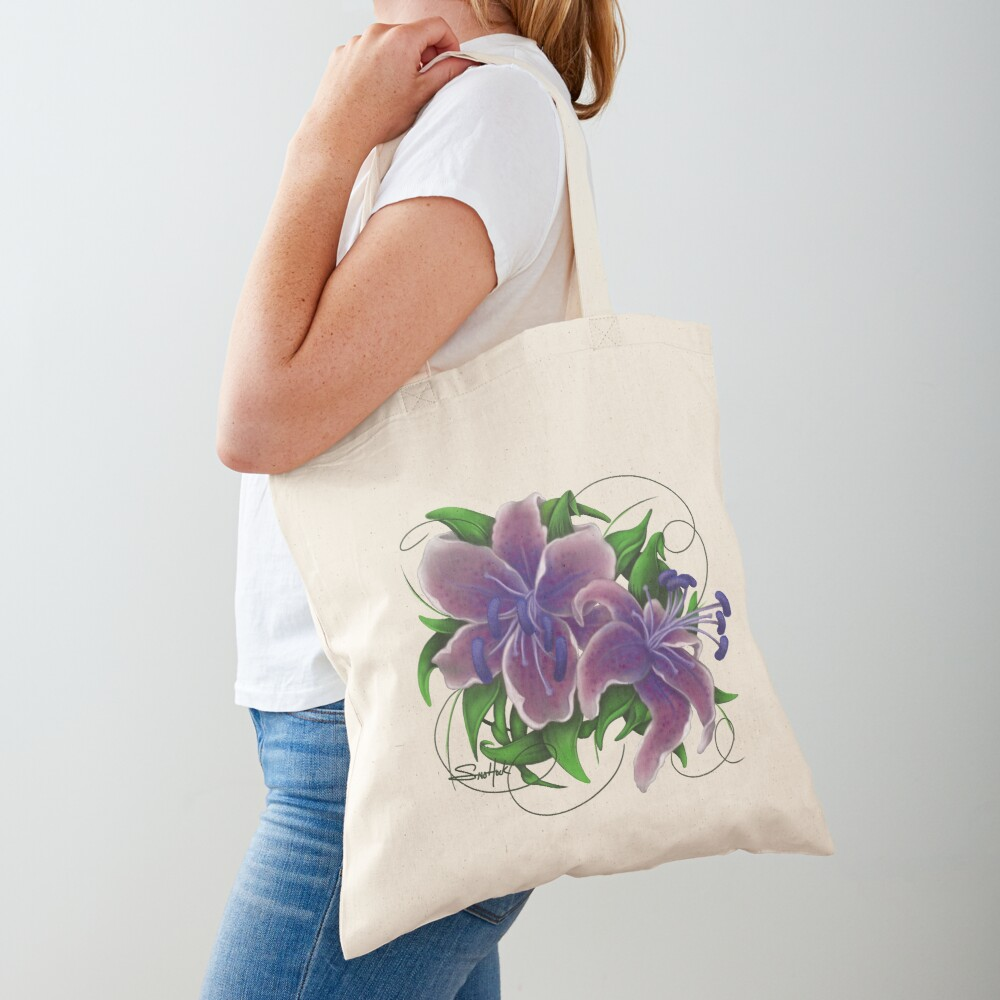 Twisted Purple Lillies Tote Bag