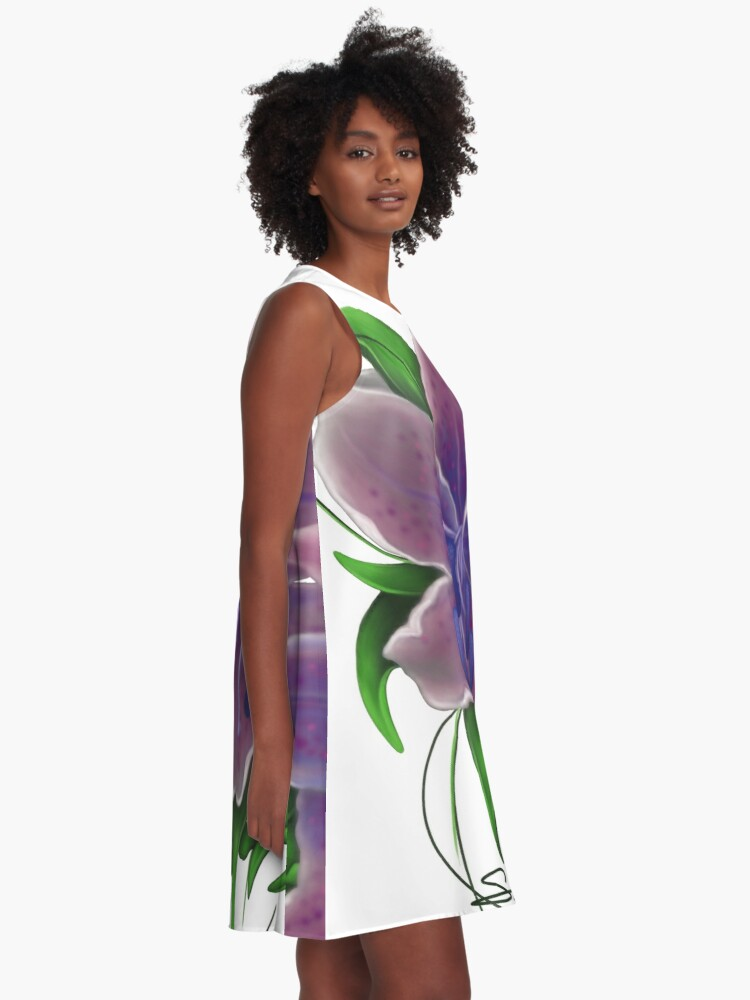 Alternate view of Twisted Purple Lillies A-Line Dress