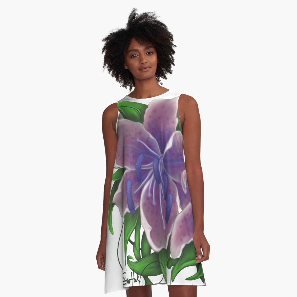 Twisted Purple Lillies A-Line Dress