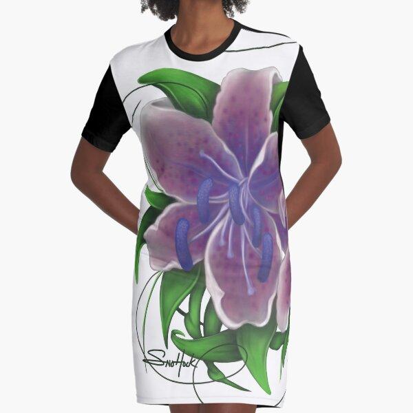 Twisted Purple Lillies Graphic T-Shirt Dress