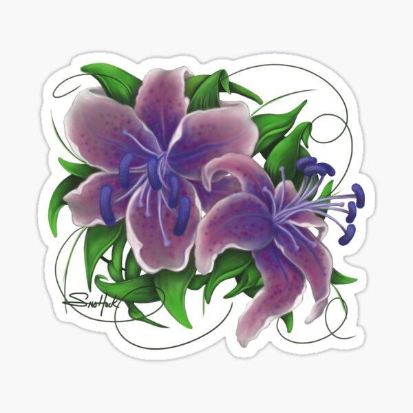 Twisted Purple Lillies Sticker