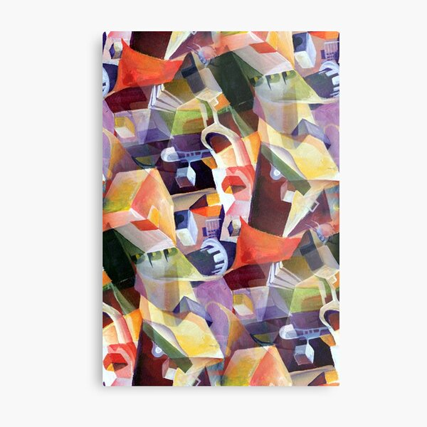 Modern Abstract Cubism in Opulent Contemporary Style Metal Print