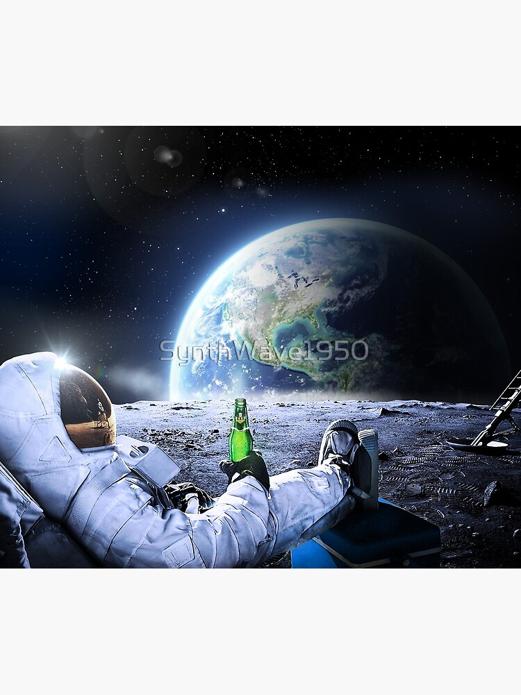 Astronaut on the Moon with beer ⛔ HQ-quality, BESTSELLER by SynthWave1950
