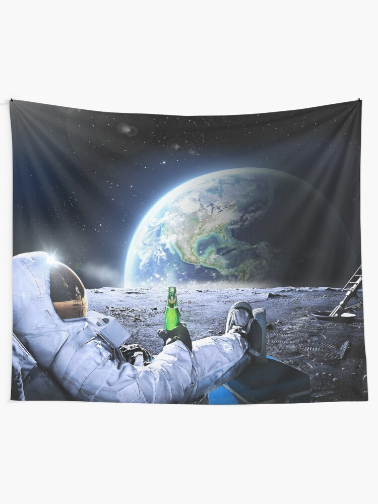 Alternate view of Astronaut on the Moon with beer ⛔ HQ-quality, BESTSELLER Tapestry