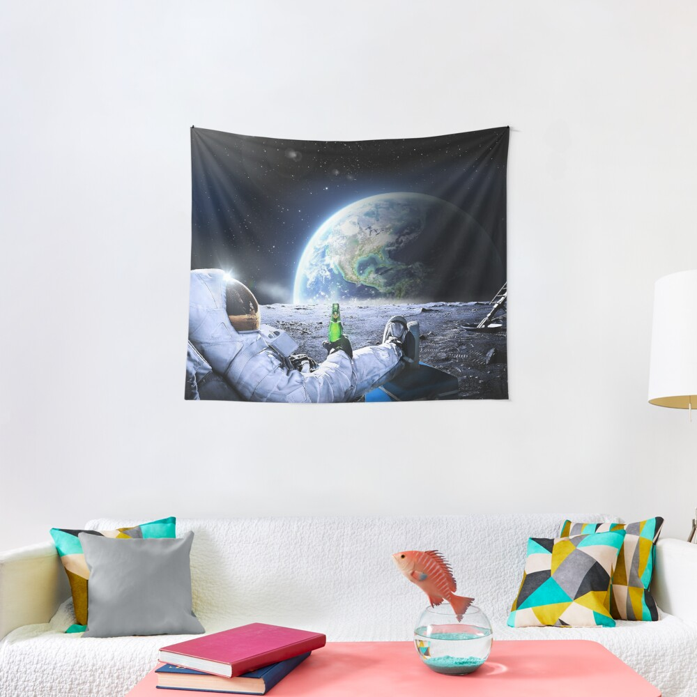 Astronaut on the Moon with beer ⛔ HQ-quality, BESTSELLER Tapestry