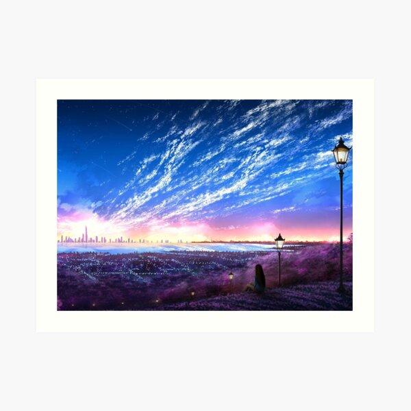 Anime Urban Sunset Art Print