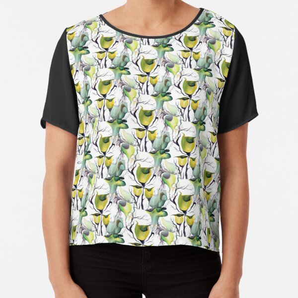Seamless Pattern Tropical Exotic Plants in Bold Vibrant Green Colors Chiffon Top