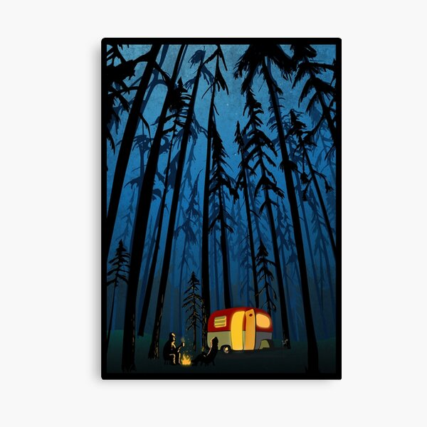 retro twilight camping Canvas Print