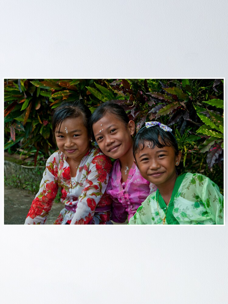 Girls In Ceremonial Dress At A Village Festival Near Tabanan In Bali Indonesia Poster