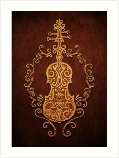 Aged Vintage Brown Tribal Violin Design by jeff bartels