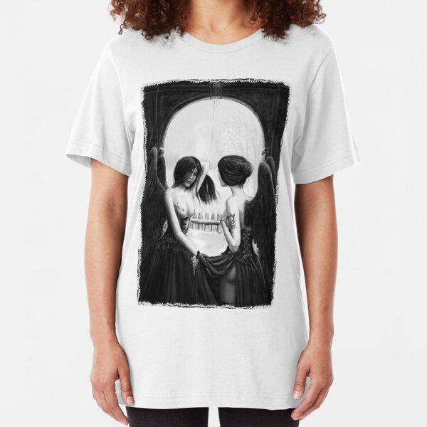 Skull Optical Illusion tee Slim Fit T-Shirt