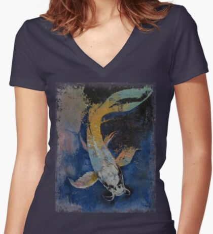 Dragon Koi Women's Fitted V-Neck T-Shirt